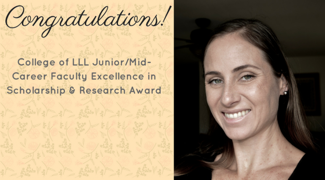 Dr. Katie Drager Wins College Scholarship & Research Award